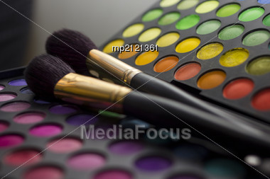 Multicolored Eye Shadows With Two Cosmetics Brush Stock Photo