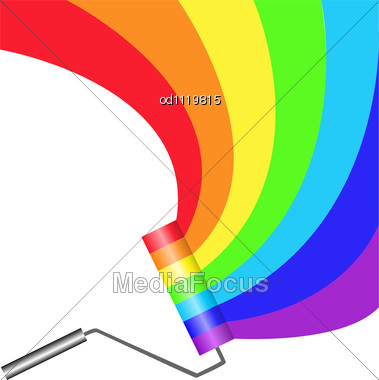 Multicolored Paint Roller Painting Semicircular Rainbow Stock Photo