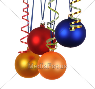Multicoloured Christmas Decorations With Ribbon Stock Photo