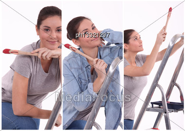 Multiple Shot Of Woman Painting Stock Photo