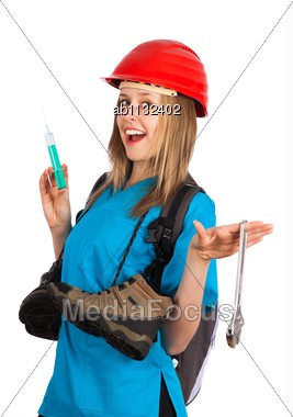 Multitasking - Young Woman With Several Professions Stock Photo