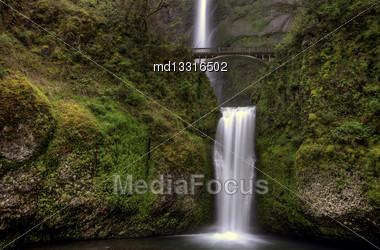Multnomah Falls Oregon Majestic Columbia River Gorge Stock Photo