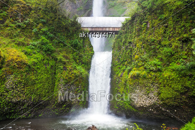 Multnomah Falls In Troutdale, Oregon At Spring Time Stock Photo