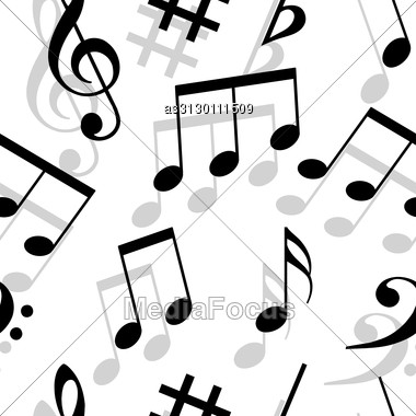 Music Notes. Seamless Wallpaper. Stock Photo