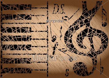 Musical Background In Grunge Style. 10 EPS Stock Photo