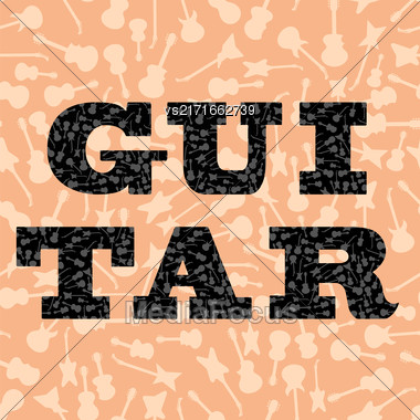 Musical Background. Guitar Silhouettes Seamless Pattern. Decorative Text Stock Photo