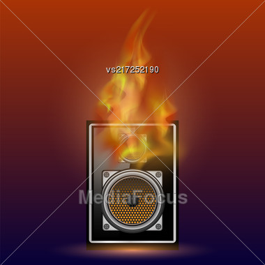 Musical Black Speaker And Firre Flame Isolated On Blurred Red Blue Background Stock Photo