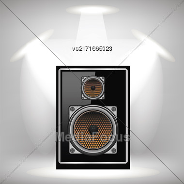 Musical Black Speaker On Light Gray Background Stock Photo