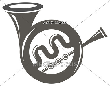 Musical French Horn Icon Isolated On White Background. French Horn Icon. French Horn Icon Web Design. French Horn Icon Concept. French Horn Icon Symbol. French Horn Sign Stock Photo