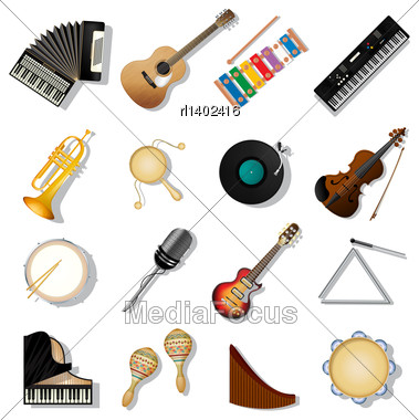 Musical Instruments Icon Set Over White Background Stock Photo