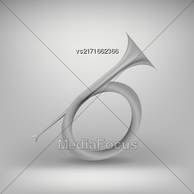 Musical Metal Horn Icon Isolated On Grey Background. Hunting Horn Icon. Hunting Horn Icon Web Design. Hunting Horn Icon Concept. Hunting Horn Icon Metal Symbol Of Hanting. Hunting Horn Sign Stock Photo