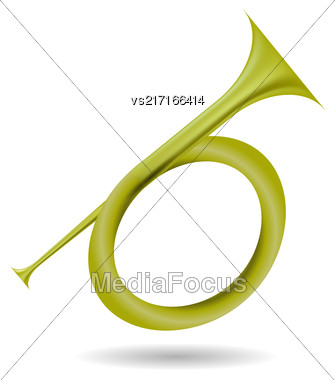 Musical Metal Horn Icon Isolated On White Background. Hunting Horn Icon. Hunting Horn Icon Web Design. Hunting Horn Icon Concept. Hunting Horn Icon Metal Symbol Of Hanting. Hunting Horn Sign Stock Photo