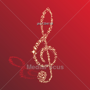 Musical Notes Clef Vector Background For Use In Design Stock Photo