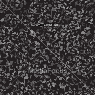Musical Notes Seamless Pattern On Dark Background Stock Photo