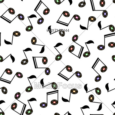 Musical Notes Seamless Pattern On White Background Stock Photo