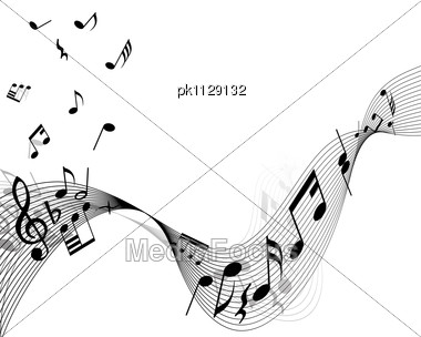 Musical Notes Stuff Vector Background For Use In Design Stock Photo