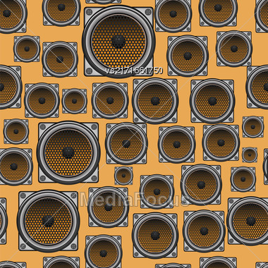 Musical Speaker Seamless Pattern On Orange Background Stock Photo