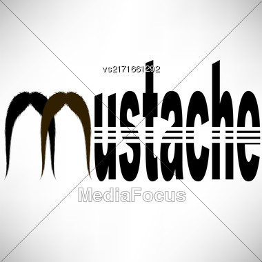 Mustache Silhouette Icon Isolated On Grey Background Stock Photo