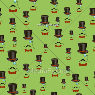 Mustaches And Accessories Seamless Pattern Isolated On Green Background Stock Photo