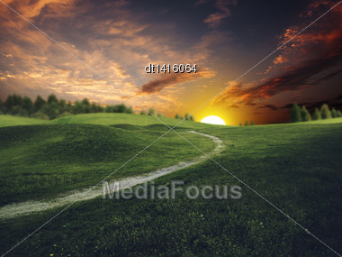 Mystical Sunset Over Summer Green Hills, Abstract Environmental Backgrounds Stock Photo