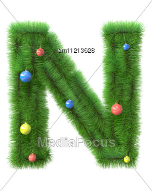 N Letter Made Of Christmas Tree Branches Stock Photo