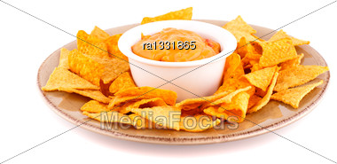 Nachos And Cheese Sauce Isolated On White Background Stock Photo