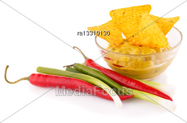 Nachos, Guacamole Sauce And Vegetables Isolated On White Background Stock Photo