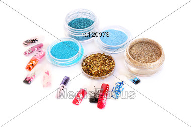 Nail Art Glitters And Colorful Nail Figures Stock Photo