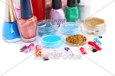 Nail Polishesglitters And Nail Figures Stock Photo