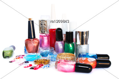 Nail Polishes Glitters And Nail Figures Stock Photo