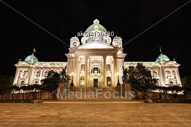 National Assembly At The Night, Belgrade, Serbia Stock Photo