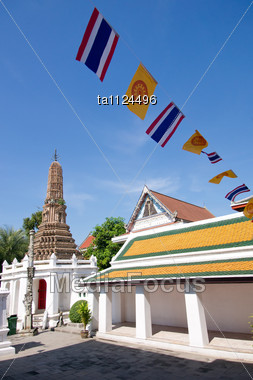 National Flags In The Buddhist Temple, Bangkok, Thailand Stock Photo