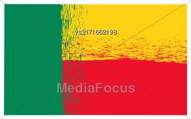 National Grunge Flag Of Benin Isolated On White Background. Indepence Symbol Of Benin Stock Photo