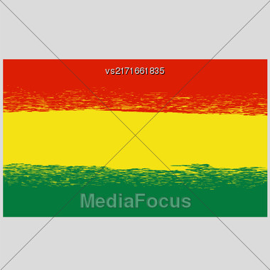 National Grunge Flag Of Bolivia Isolated. Symbol Of Bolivian Independence Stock Photo