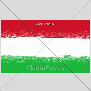 National Hungary Grunge Flag Isolated On Grey Background Stock Photo