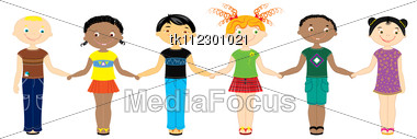 Nationality Boys And Girls.Multi Racial Children Stock Photo