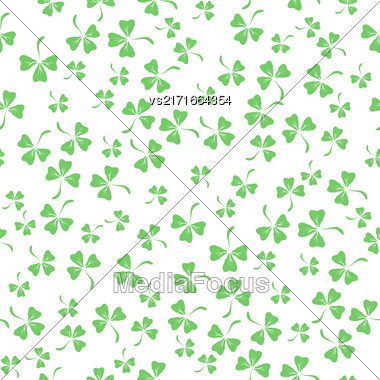 Natural Chamrock Seamless Texture. Cartoon Clover Leaves Isolated On White Background. Patricks Day Banner Stock Photo