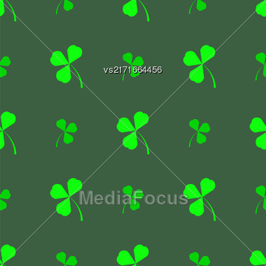 Natural Chamrock Texture. Cartoon Clover Leaves Isolated On Green Background. Patricks Day Banner Stock Photo