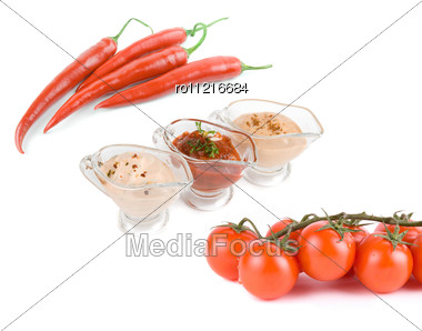 Natural Ketchup, From Tomatoes And Hot Red Pepper Stock Photo