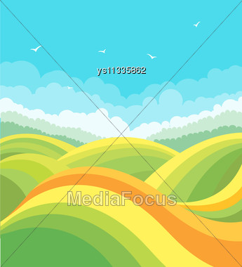 Nature Landscape With Green Fields And Birds In Blue Sky.Vector Background Illustration Stock Photo
