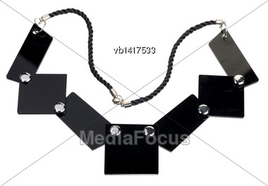 Necklace Of Black Flat Plates, Isolated On White Background Stock Photo