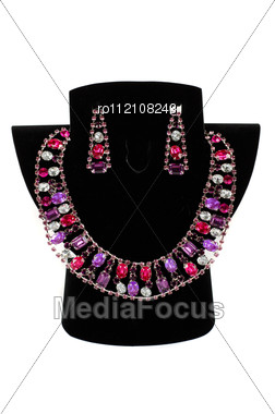 Necklace With Pendants And Earrings Stock Photo