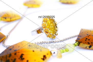Necklace And Ring Stock Photo