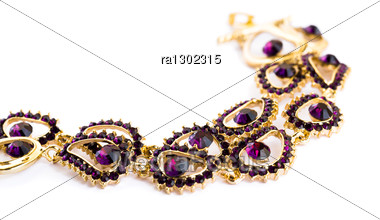 Necklace With Violet Stones Isolated On White Background. Stock Photo