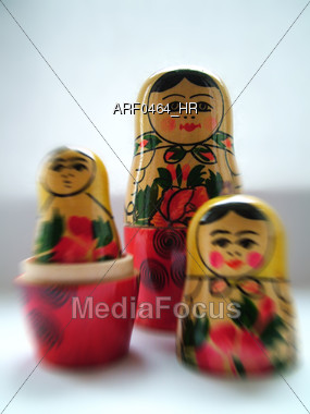 Nesting Russian Dolls Stock Photo