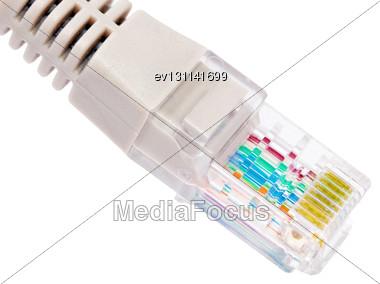 Network Connection Plug RJ-45. Macro. Isolated Stock Photo