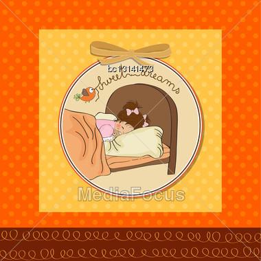 New Baby Girl Arrived, Vector Illustration Stock Photo