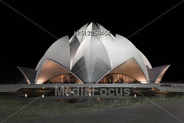 NEW DELHI, INDIA - APRIL 08: Lotus Temple On April 08, 2012, New Delhi, India.The Bahai House Of Worship In New Delhi, Popularly Known As The Lotus Temple Due To Its Flowerlike Shape Stock Photo
