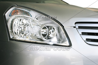 New Gray Car Headlights Stock Photo