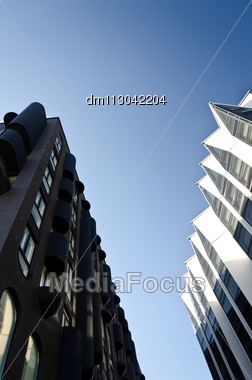 New Modern Business District Against Blue Sky Stock Photo